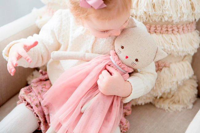 Alimrose Aurelie Linen Cat Doll - Blush
