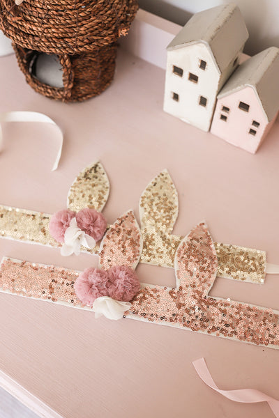 Alimrose Sequin Bunny Crown - Rose
