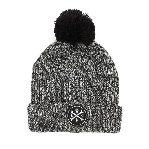 Alphabet Soup Beanie - Cross Bones Pom