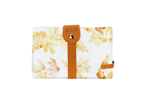 The Somewhere Co. Travel Baby Change Mat and Wallet - Mustard Floral