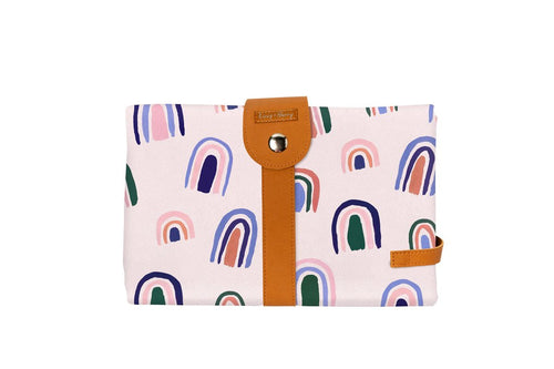 The Somewhere Co. Travel Baby Change Mat and Wallet - Ochre Rainbows