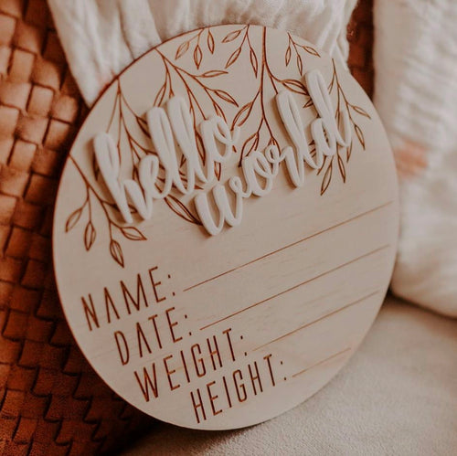 Hello Fern Birth Announcement Disc - Hello World