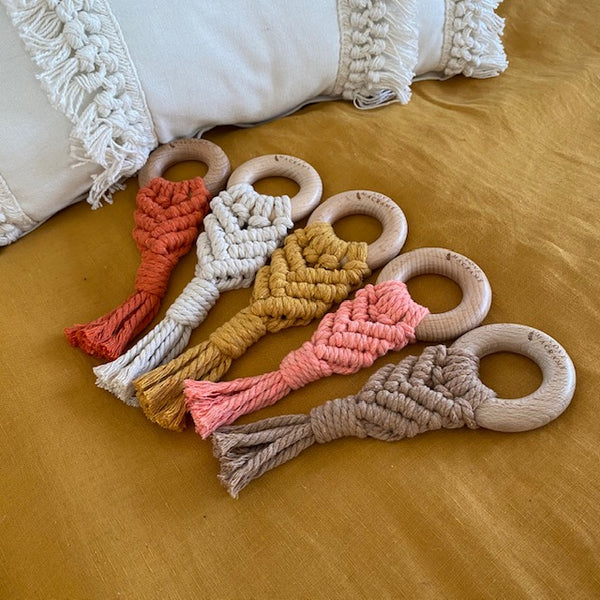 Love Macrame - Macrame Teether - Coral