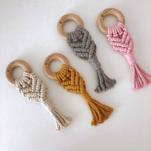 Love Macrame - Macrame Teether - Dusty Pink