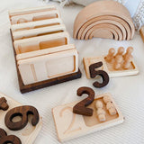 Wooden Number Tray Set