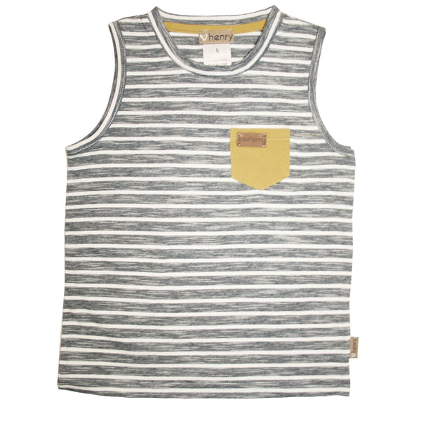 Love Henry Surf Singlet - Monochrome Stripe