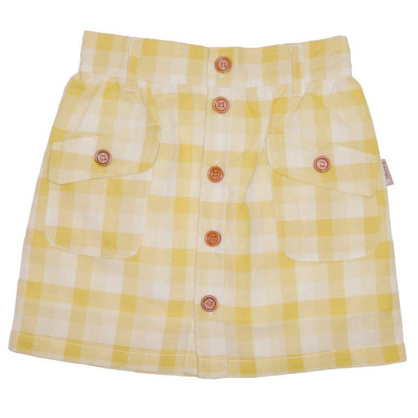 Love Henry Buttonfront Skirt - Yellow Gingham