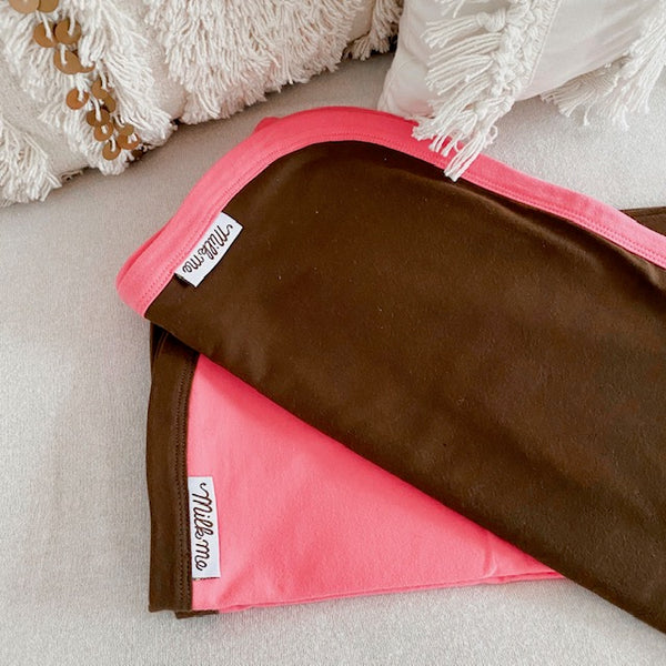 MilkMe Organic Cotton Swaddle Blanket - Pink Chocolate