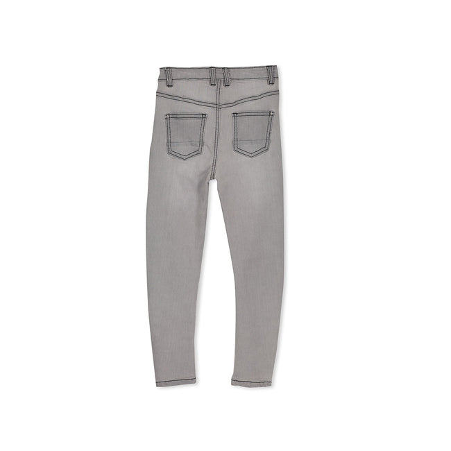 Milky Grey Stitch Denim Jean