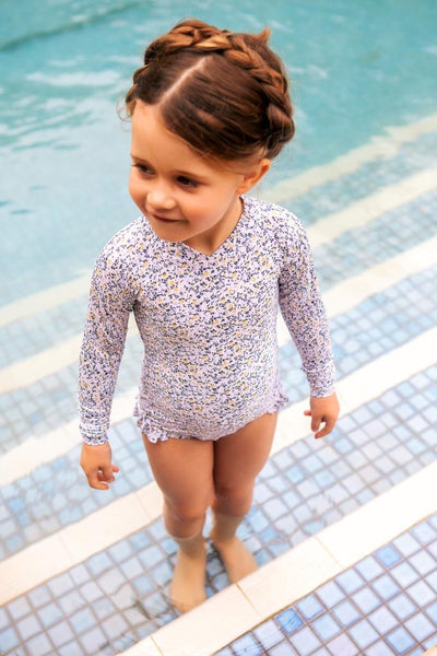 Peggy Violet Long Sleeve Swimsuit -  Mini Blue Floral
