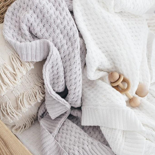 Snuggle Hunny Diamond Knit Blanket - Warm Grey