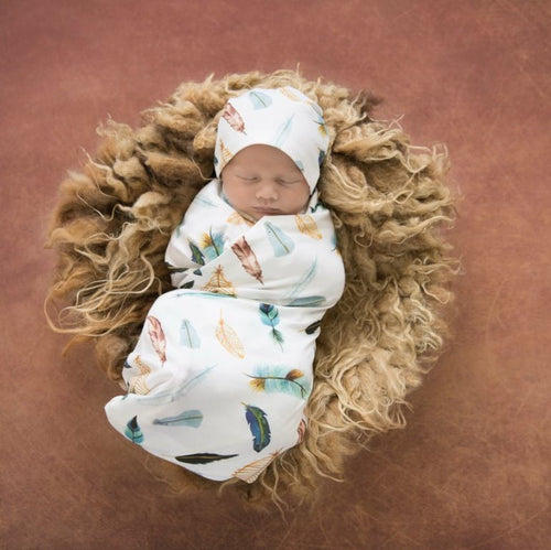 Snuggle Hunny Jersey Wrap and Beanie Set - Dreamweaver