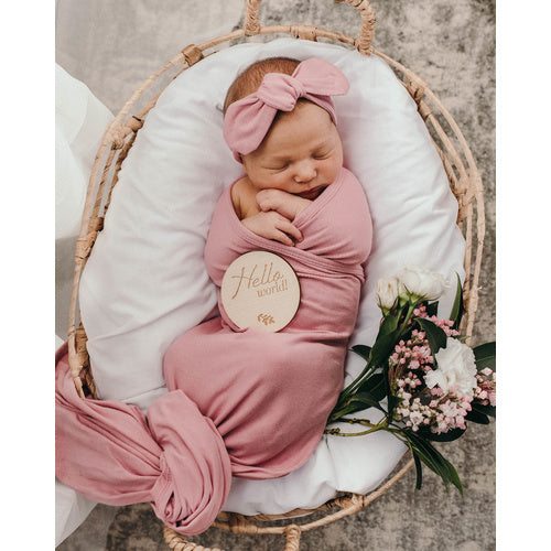 Snuggle Hunny Jersey Wrap and Topknot Set - Jewel