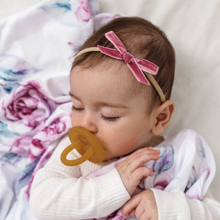 Snuggle Hunny Petite Velvet Bows - Lullaby Pink
