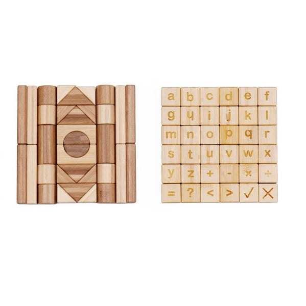 Udeas - Bamboo Alphabet and Math Block Set - 80 pieces