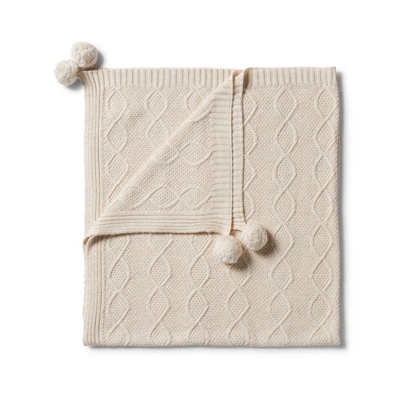 Wilson & Frenchy Knitted Cable Blanket - Whisper White Fleck