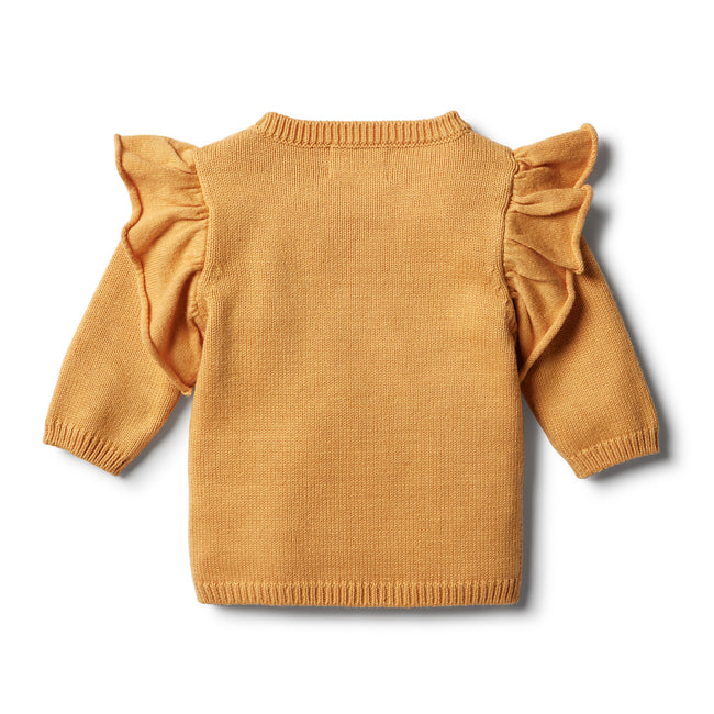 Wilson & Frenchy Knitted Ruffle Jumper - Golden Apricot