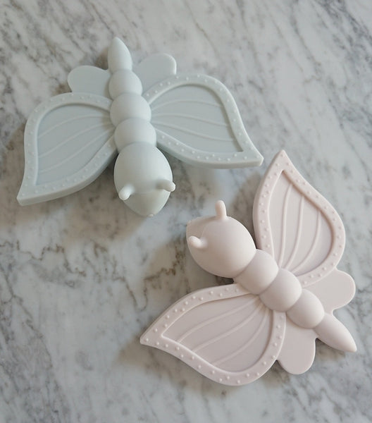 Mini Winther Co Silicone Butterfly Teether - Pale Pink