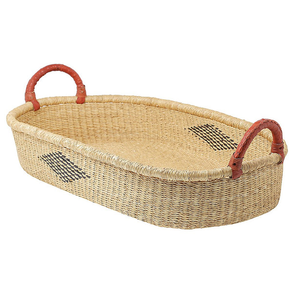 Baby Change Basket - Natural With Diamond Weave