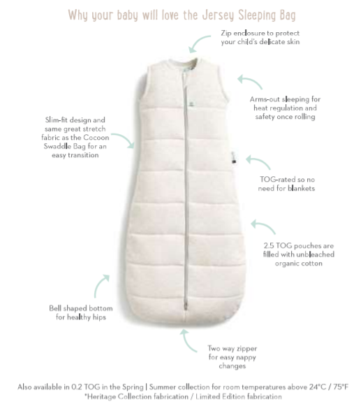 ergoPouch 2.5 tog Organic Jersey Sleeping Bag - Grey Marle