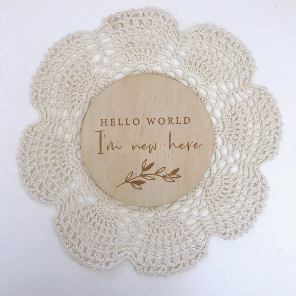 Bloomlette Announcement Plaque - Hello World