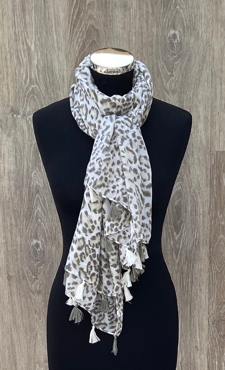 Grey/White Animal Print Scarf with Tassels