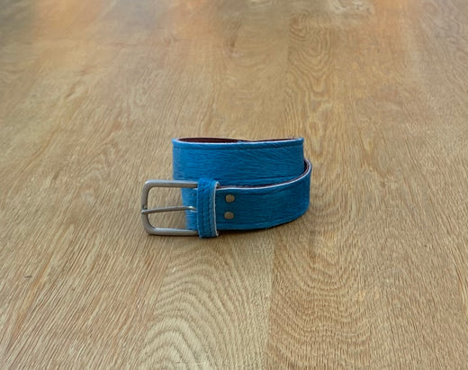 Marine blue leather belt
