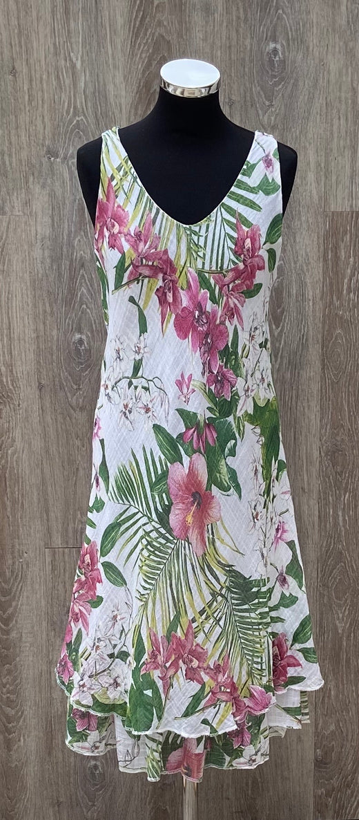 Tropical Print Sleeveless Dress