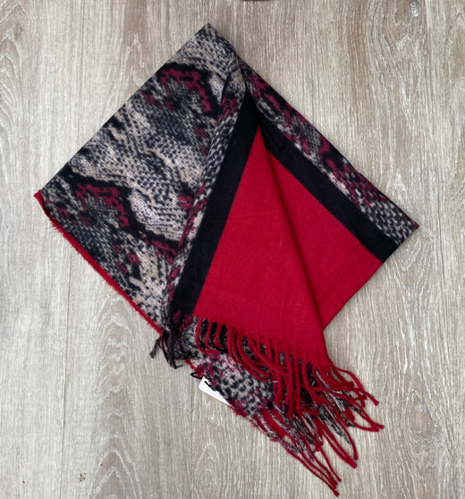 Red snake print scarf