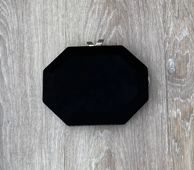 Black Suede Effect Evening Bag