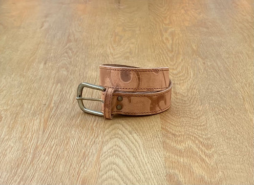 Tan abstract leather belt