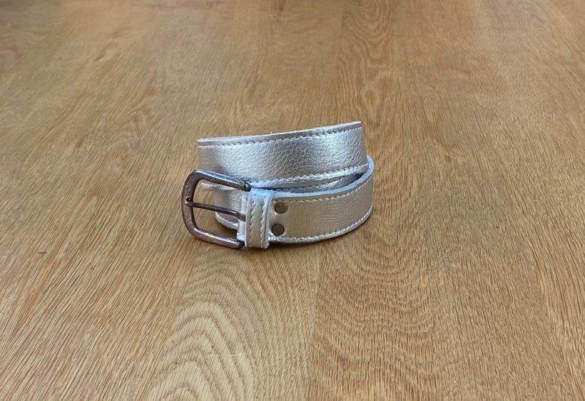 Silver leather belt