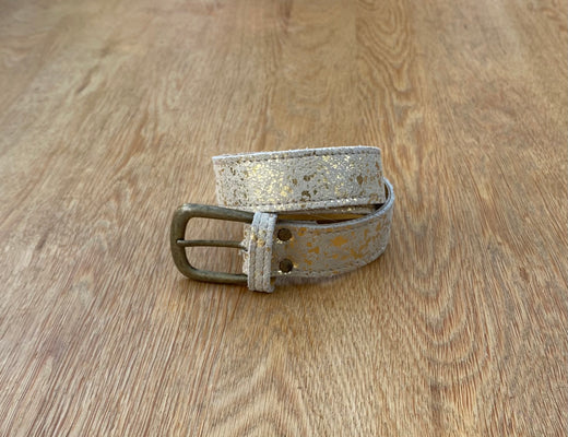 Gold splash leather belt