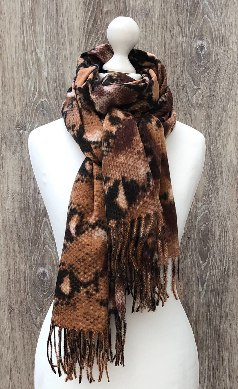 Soft touch tan snake print scarf