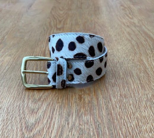 White Leather Belt With Black Spots