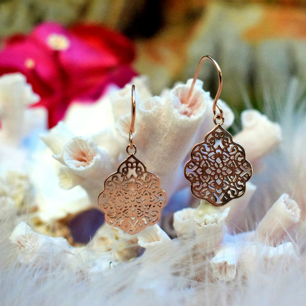 Rose Gold Pendent Earrings