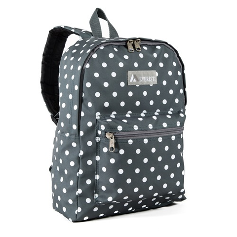 Gray and white polka dot backpack