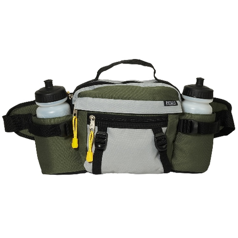 Dual squeeze hydration bottle waist pack