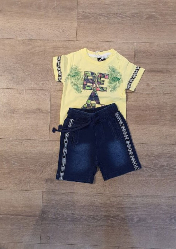 Infant short jeans and t-shirt set for boys 20123201
