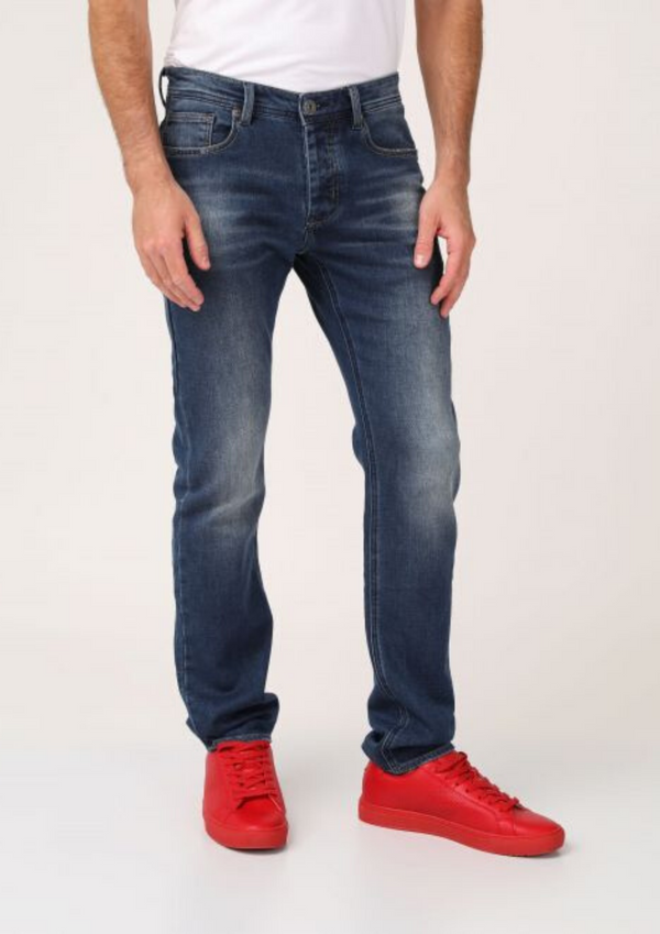 Rubbed jeans straight cut 921014