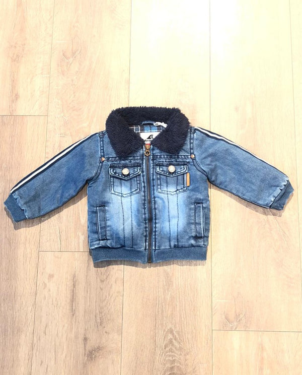 Fur denim jacket designed