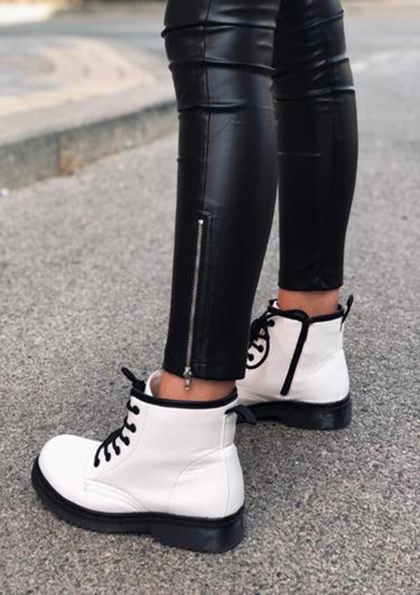 Girl's Ankle Boots Flat Lacing, Fashion Casual Shoes