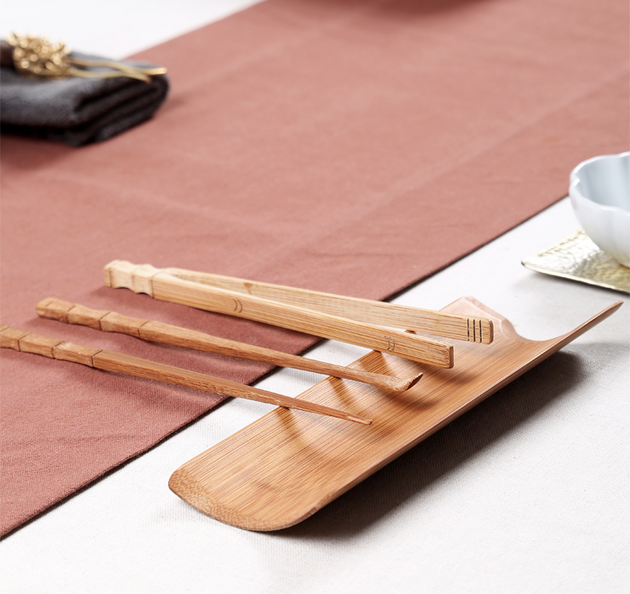 Chinese Traditional Tea Ceremony Bamboo Accessories, Traditional Chinese Tea Chops Set