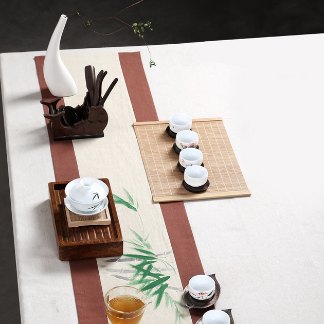 Chinese Traditional Tea Ceremony Bamboo Mat, Traditional Chinese Kung Fu Tea Mat