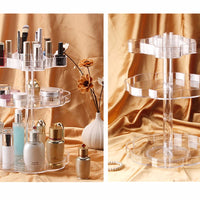 New Transparent Rotating Makeup Organizer Case 3 Tiers Acrylic Cosmetic Jewelry Storage Holder Bracket For Bedroom Bathroom