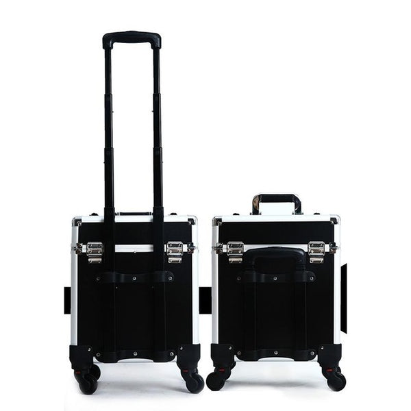 Aluminum Professional Makeup Case PVC Aluminum Trolley Cosmetic Case Makeup Bag With 4-Wheel Trolley Cosmetic Bag