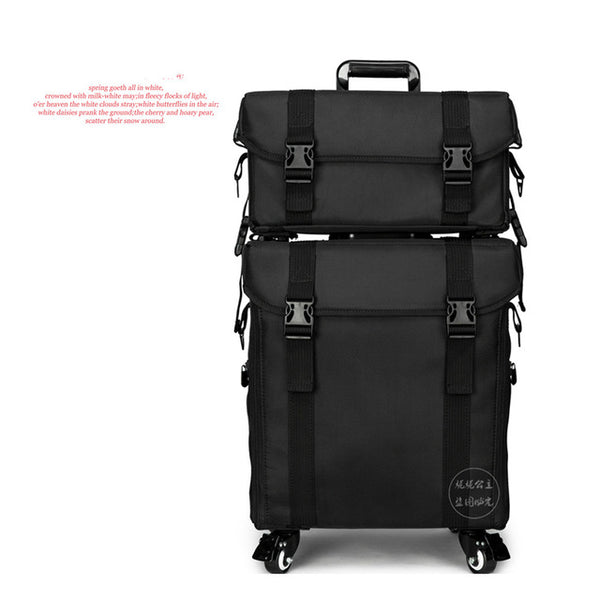 Nylon 2 in 1 Trolley Makeup Bag Professional Beauty Salon Box Hairstyle Cosmetic Case with Wheels Black