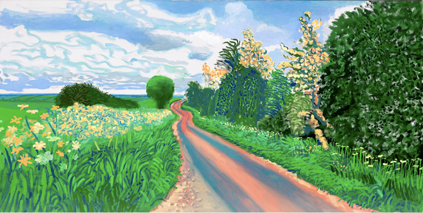 David Hockney Early Blossom, Woldgate 2009 - oil on canvas 36x72 in.