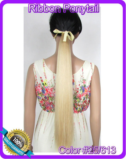 2255cm 90g Straight Ribbon Ponytail Hairpiece Hair Pieces Clip In