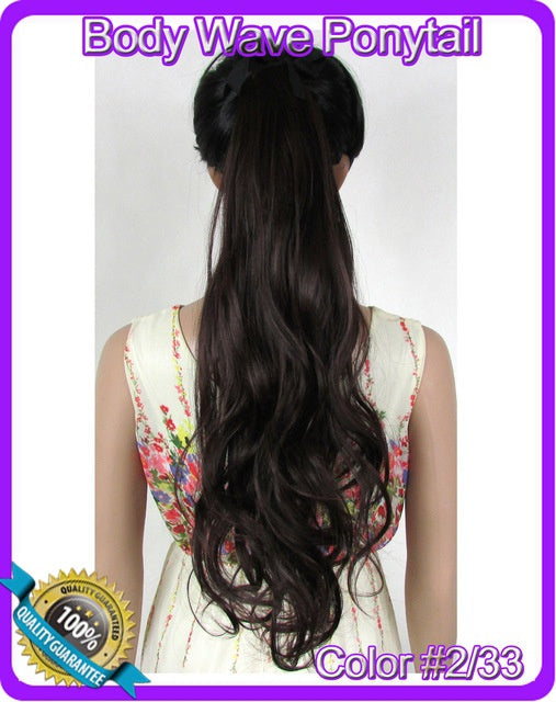 2255cm 90g Body Wave Ribbon Ponytail Hairpiece Hair Pieces Clip